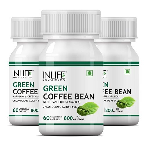 INLIFE Green Coffee Bean Extract (50% Chlorogenic Acid) 800mg Per Serving, Pack Of 3