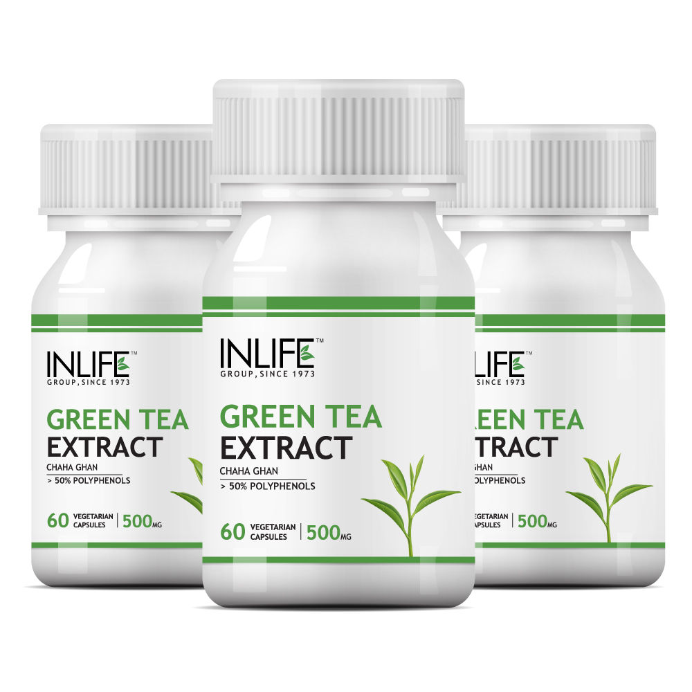 INLIFE Green Tea Extract (With 70% Polyphenols) 500mg Capsules Pack Of 3