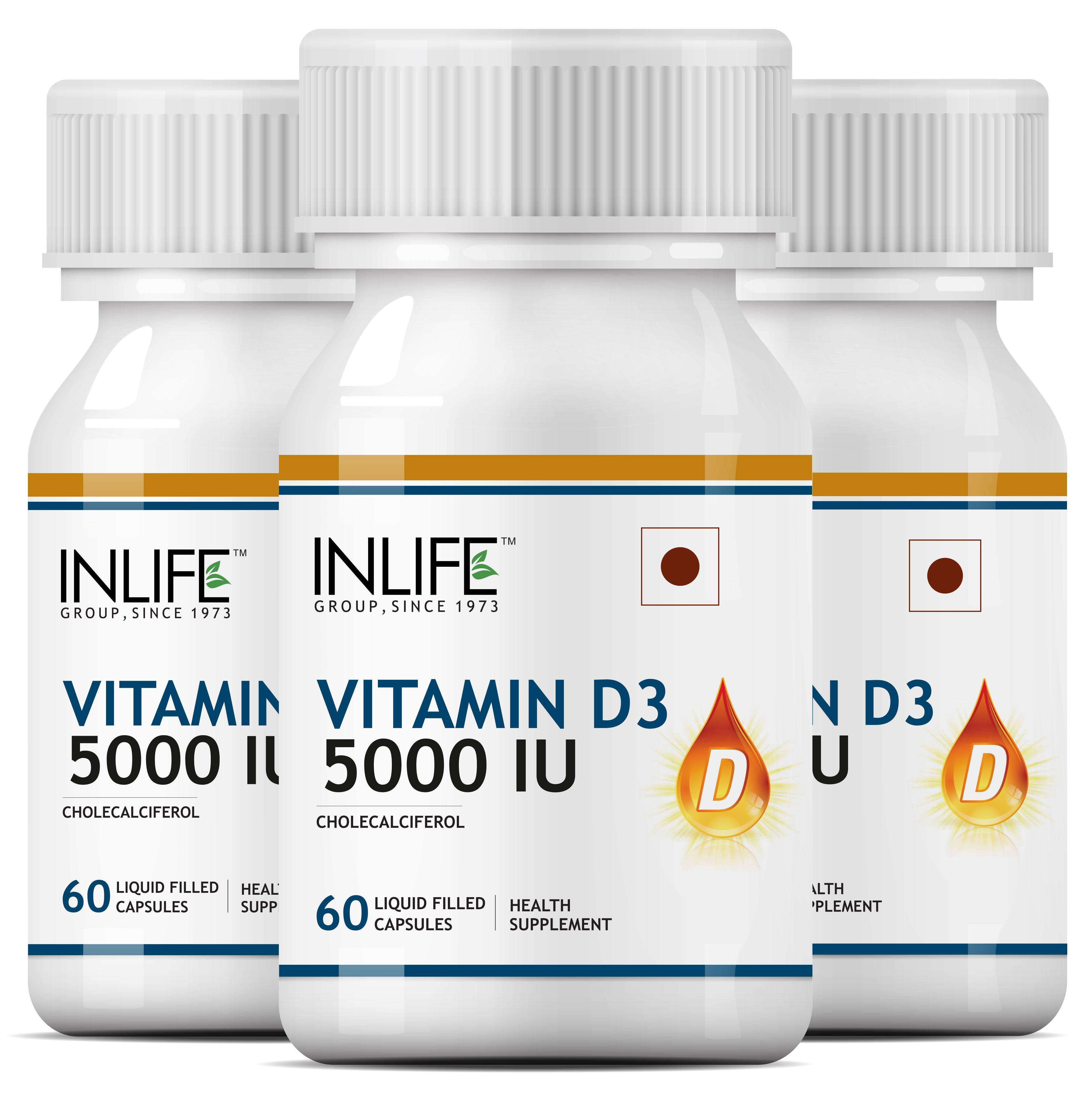 INLIFE Vitamin D3 Cholecalciferol 5000 IU Supplement Pack Of 3