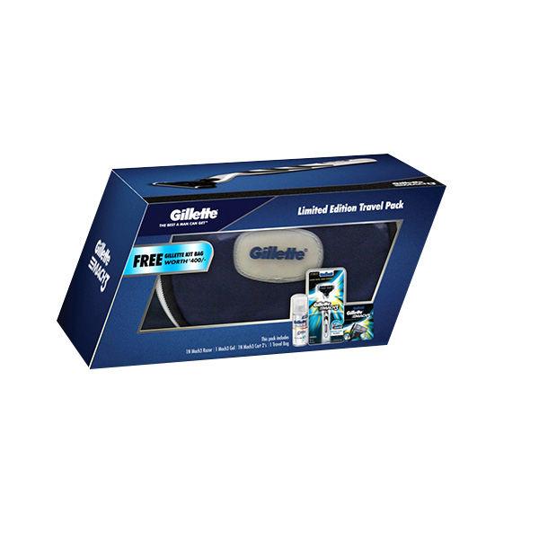 Gillette MACH3 Limited Edition Travel Pack + Free Gillette Kit Bag (Worth Rs.400)