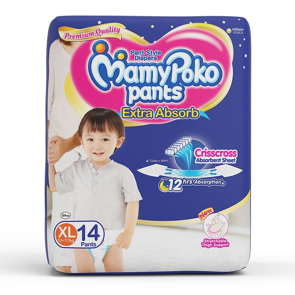 Mamy Poko Extra Absorb Pants Style XL Diapers (15 Pieces)