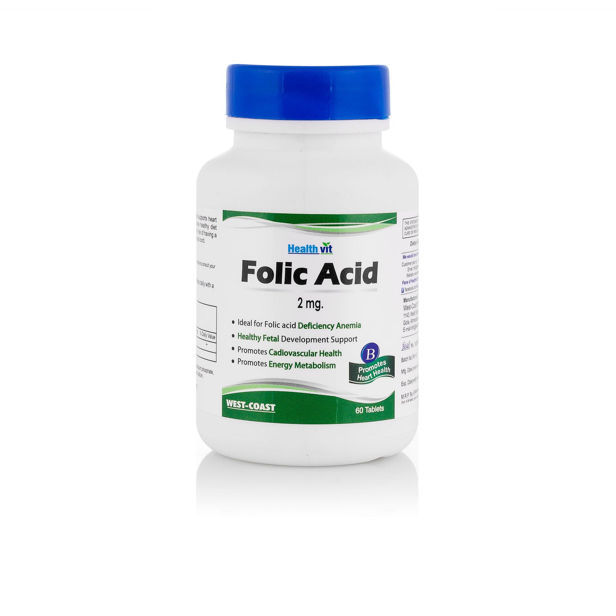 Healthvit Folic Acid 2 mg Supplements (60 Capsules)