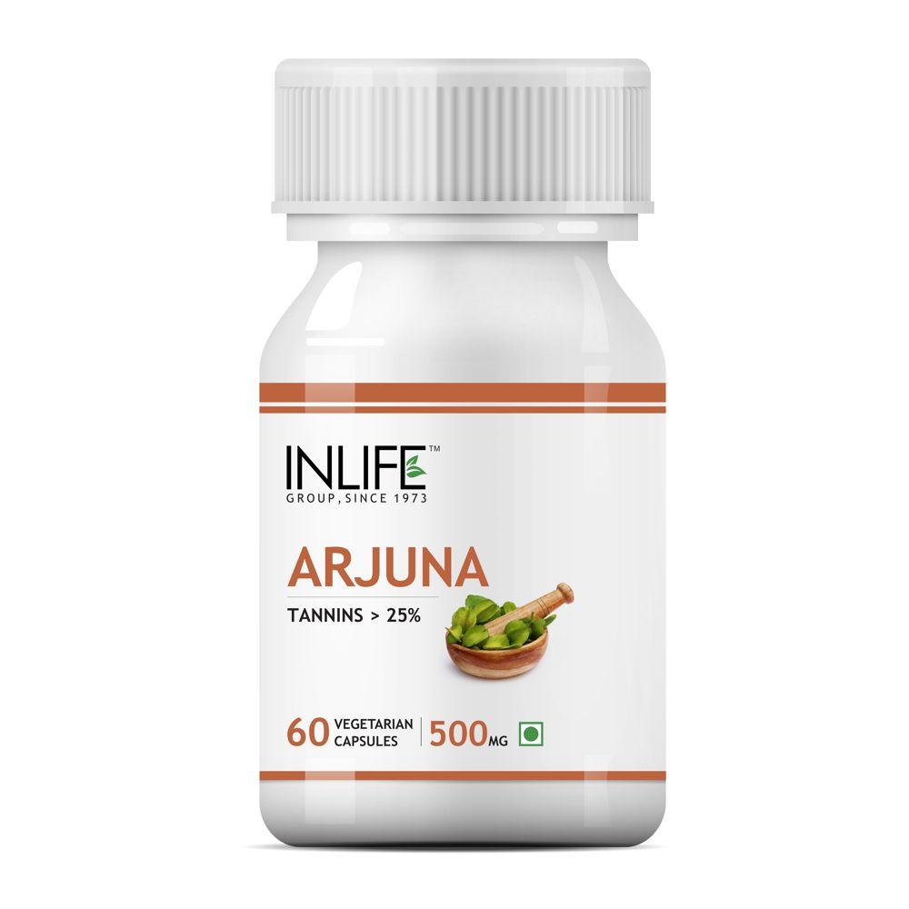 INLIFE Natural Arjuna Extract 500mg, 60 Veg Capsules For Cardiac & Brain Health