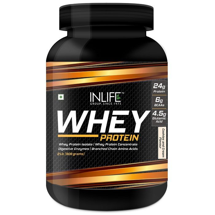 INLIFE Whey Protein Powder Body Building Supplement Cookie and Cream Flavour 908gm