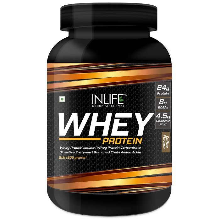 INLIFE Whey Protein Powder Body Building Supplement Coffee Flavour 908gm