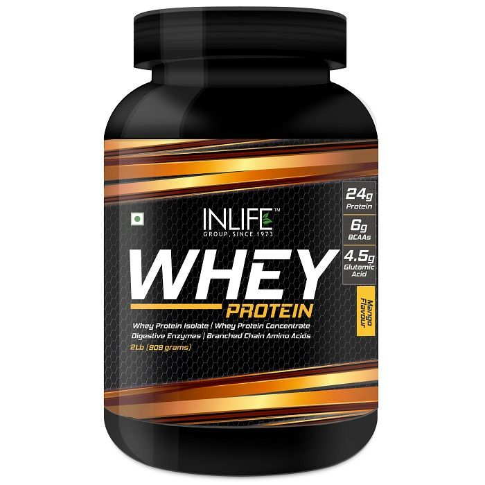 INLIFE Whey Protein Powder Body Building Supplement Mango Flavour 908gm