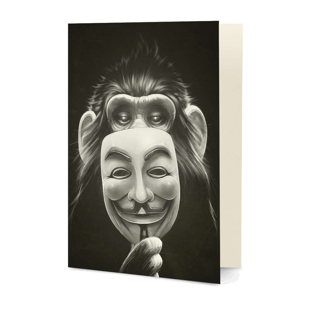 DailyObjects Anonymous Monkey A5 Greeting Card