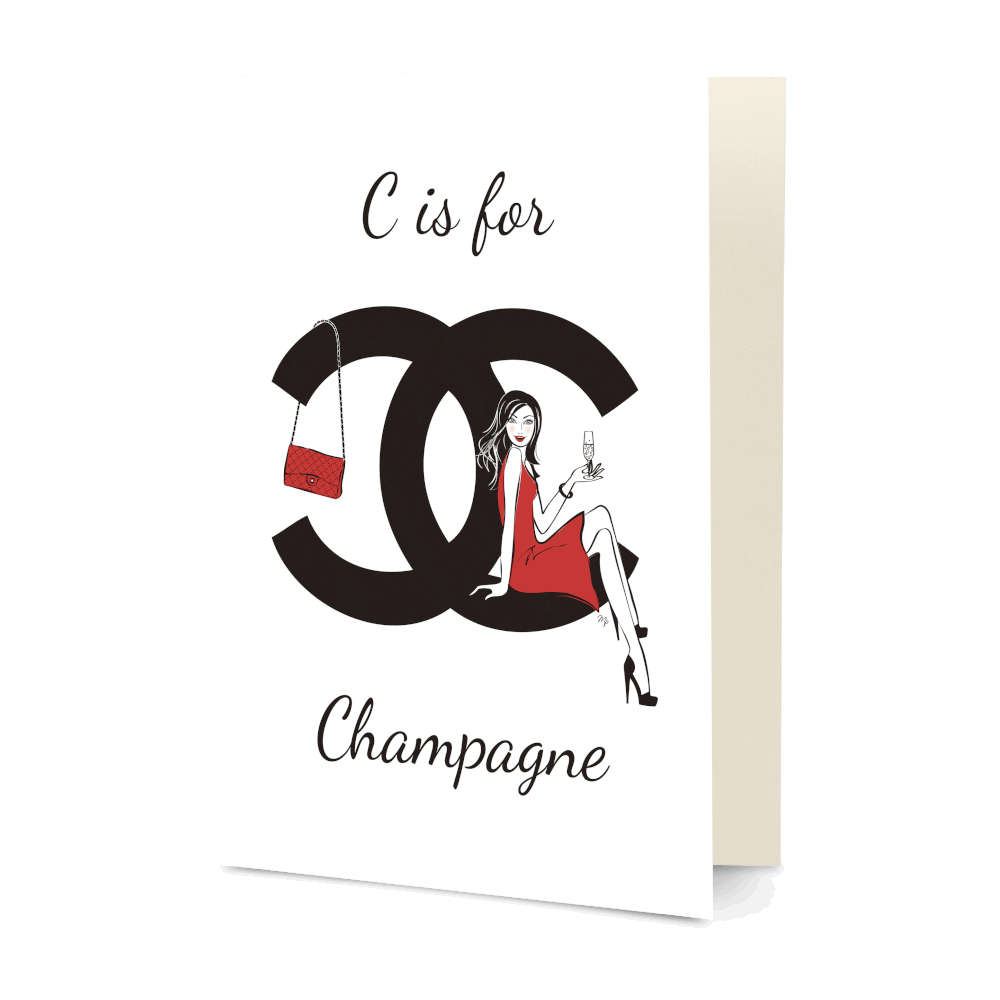 DailyObjects C Is For Champagne A5 Greeting Card