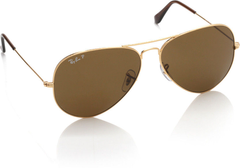 Ray-Ban Brown Polarized Aviator Sunglasses - RB3025 001/57 58-14
