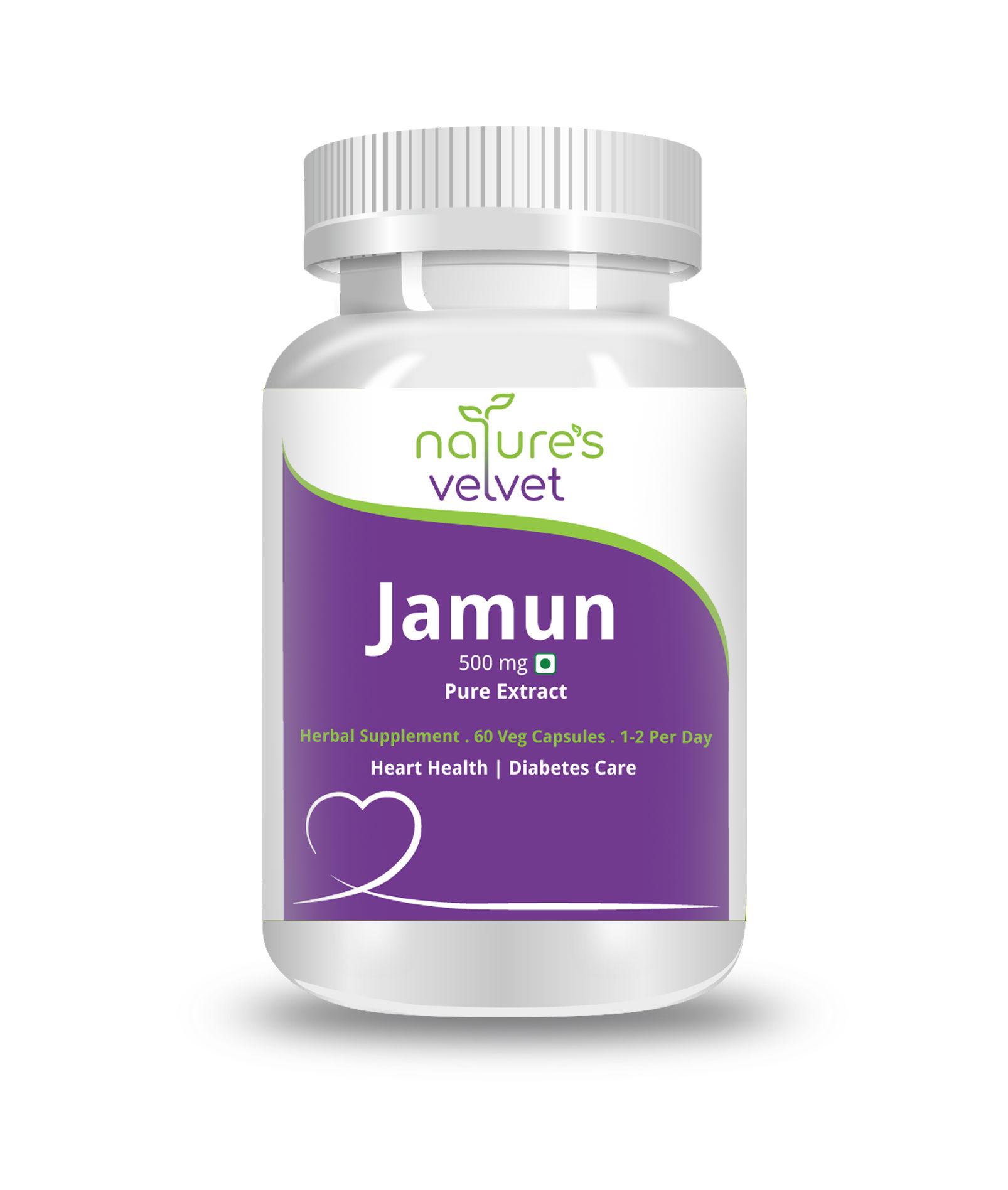 Nature's Velvet Jamun Pure Extract 500mg 60 Veg Capsules