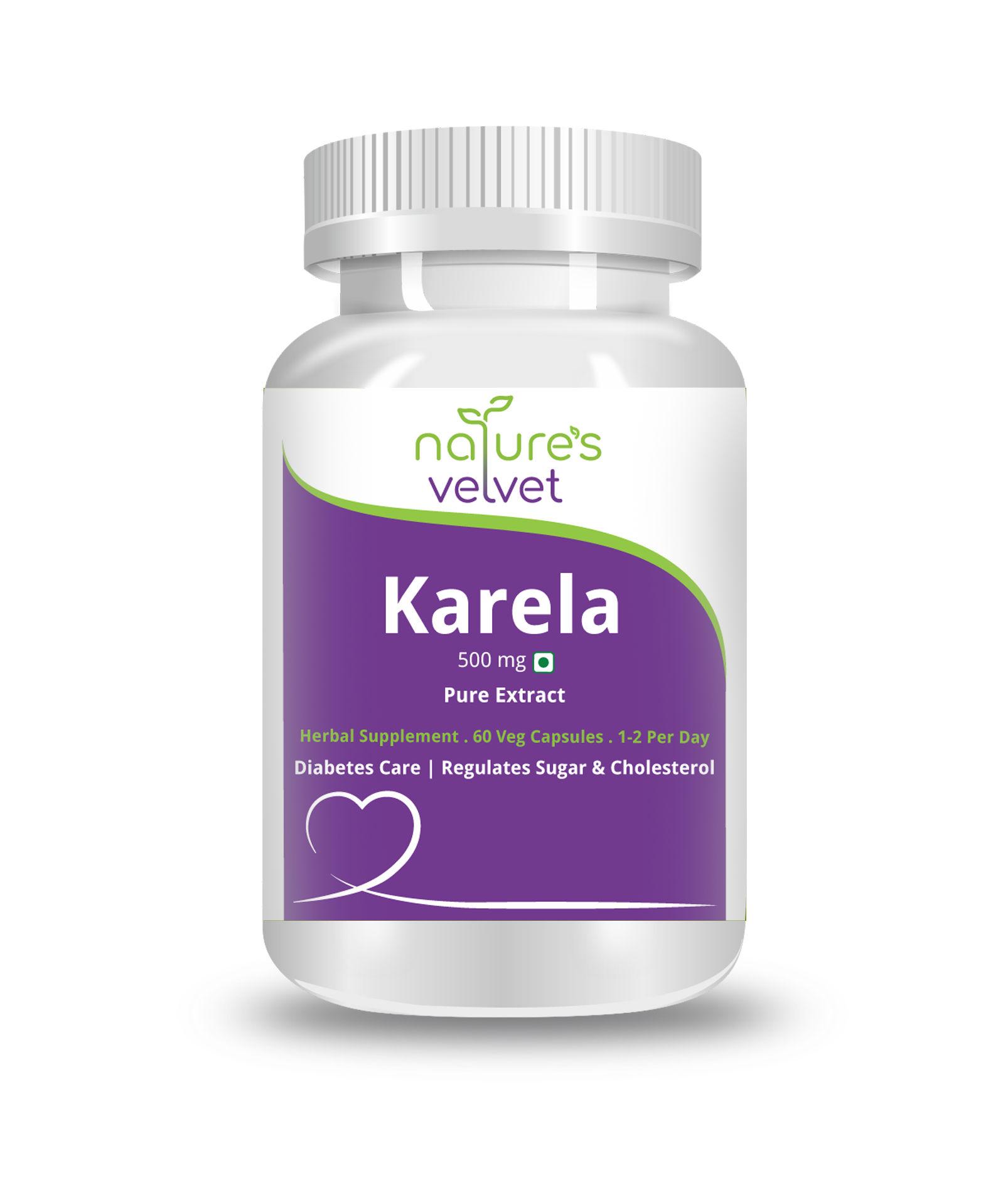Nature's Velvet Karela Pure Extract 500mg 60 Veg Capsules