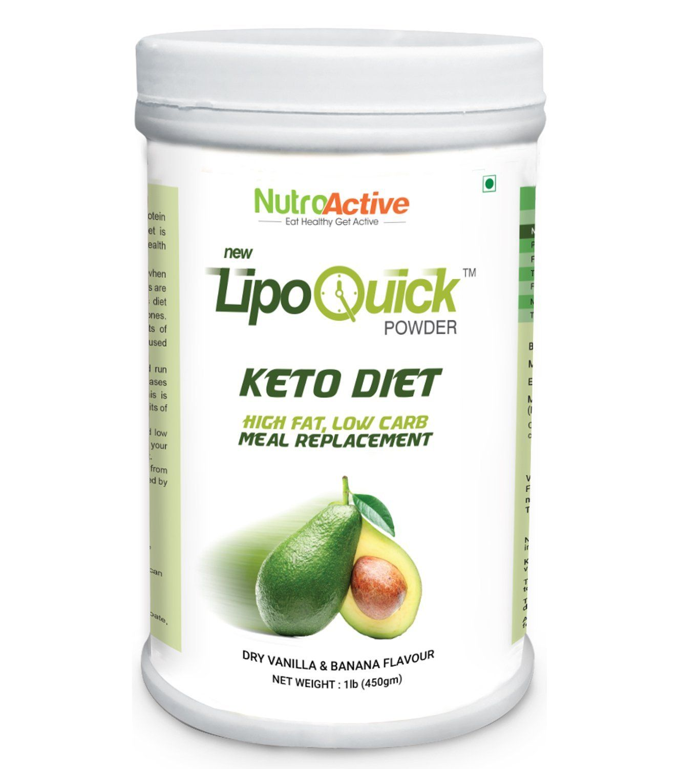 NutroActive LipoQuick Powder Keto Diet Meal Replacement