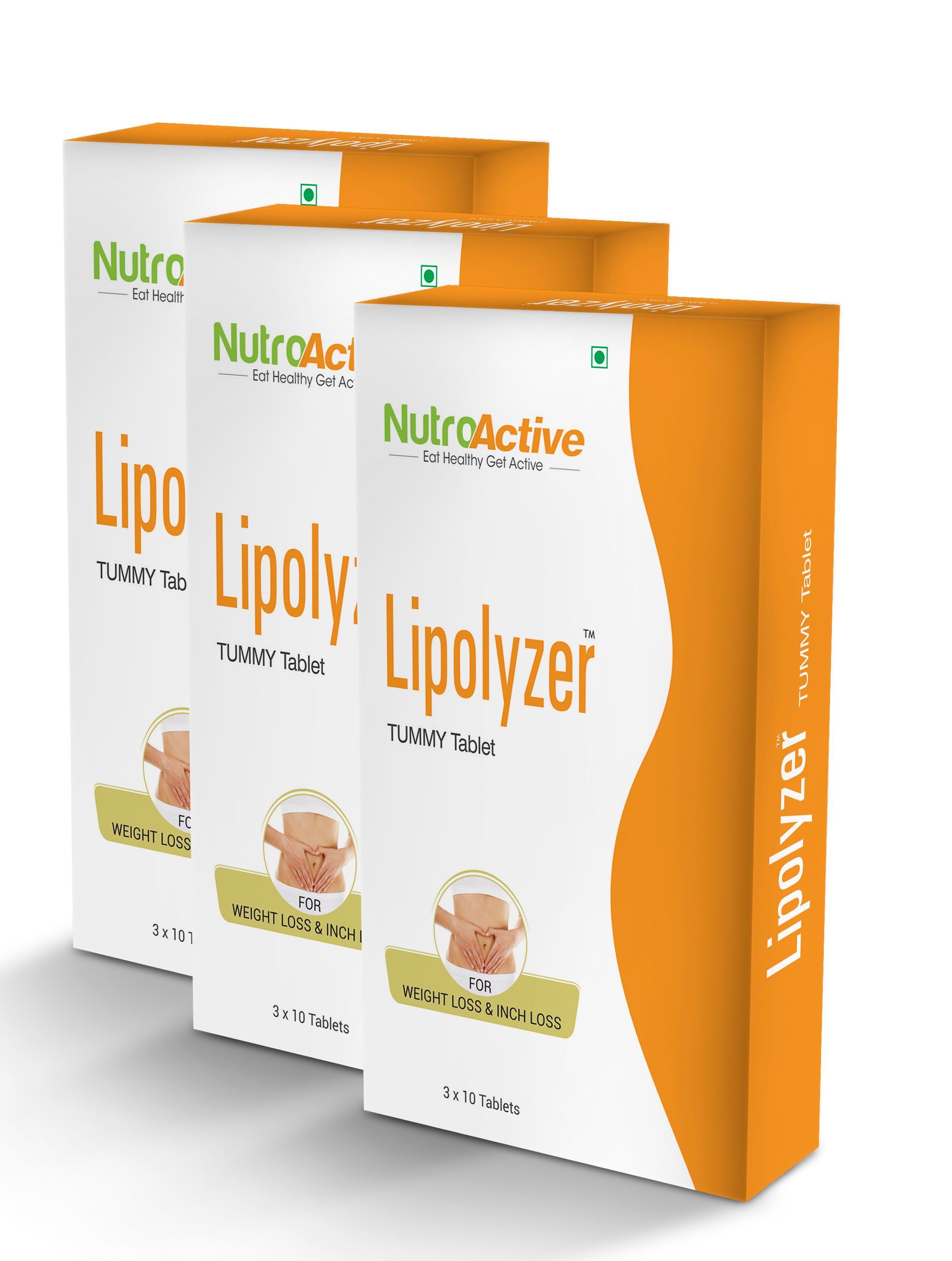 NutroActive Lipolyzer Tummy Tablets With 30 Days Diet Plan Free (Pack Of 3)