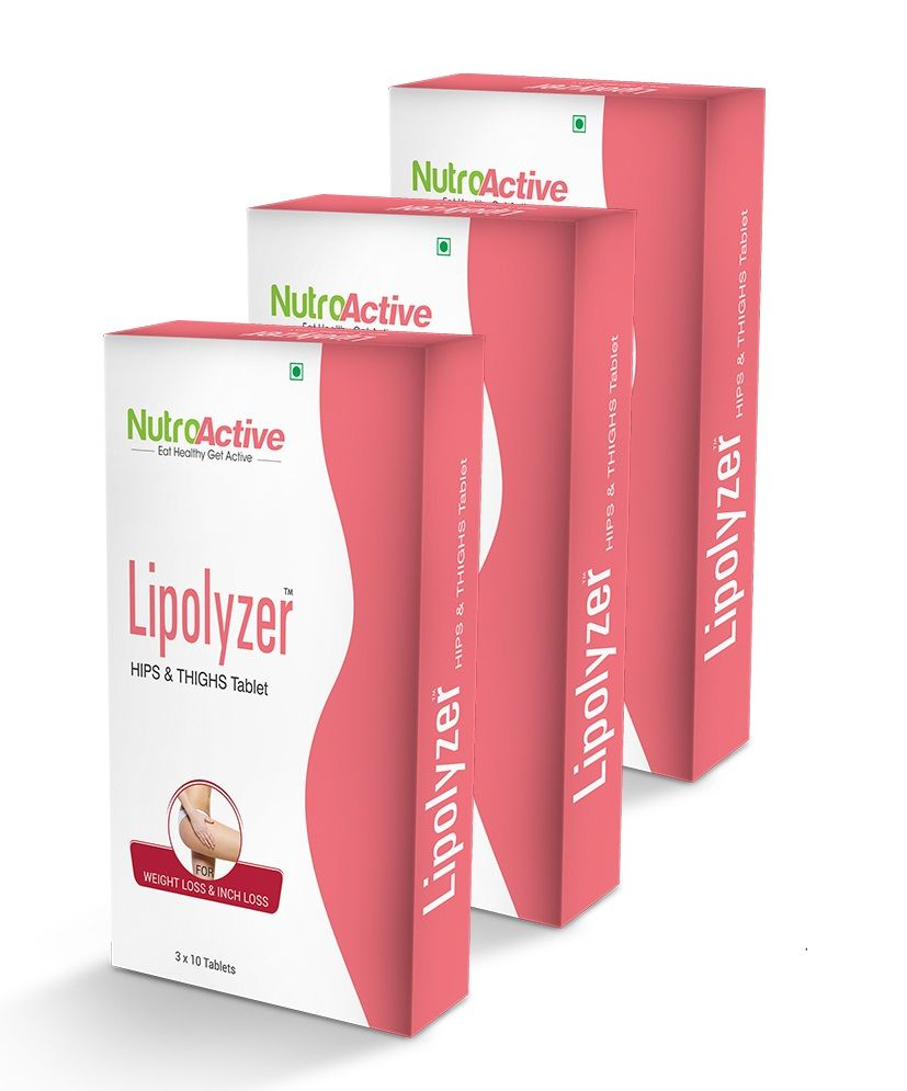 NutroActive Lipolyzer Hips & Thighs Tablets With 30 Days Diet Plan Free (Pack Of 3)