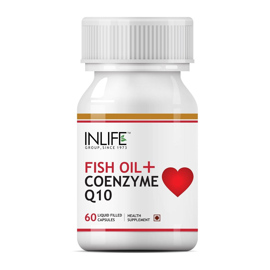 INLIFE Fish Oil Omega 3 With Coenzyme Q10, 60 Capsules For Cardio & Sexual Health