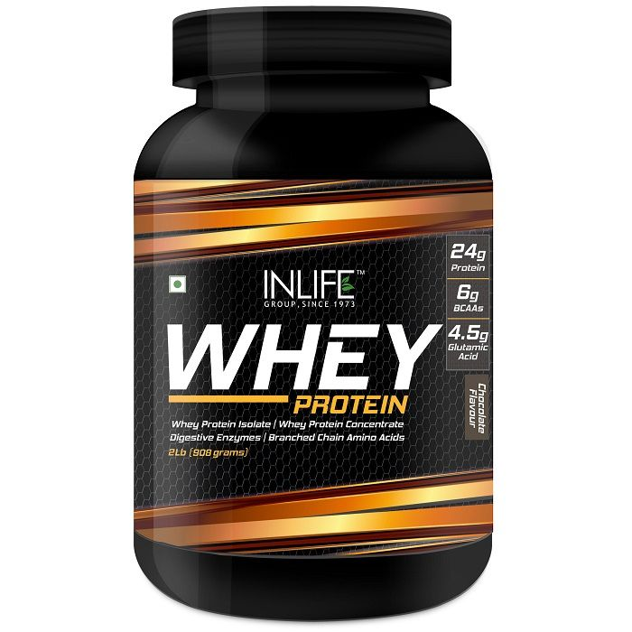 INLIFE Whey Protein Powder Body Building Supplement Chocolate Flavour 908gm