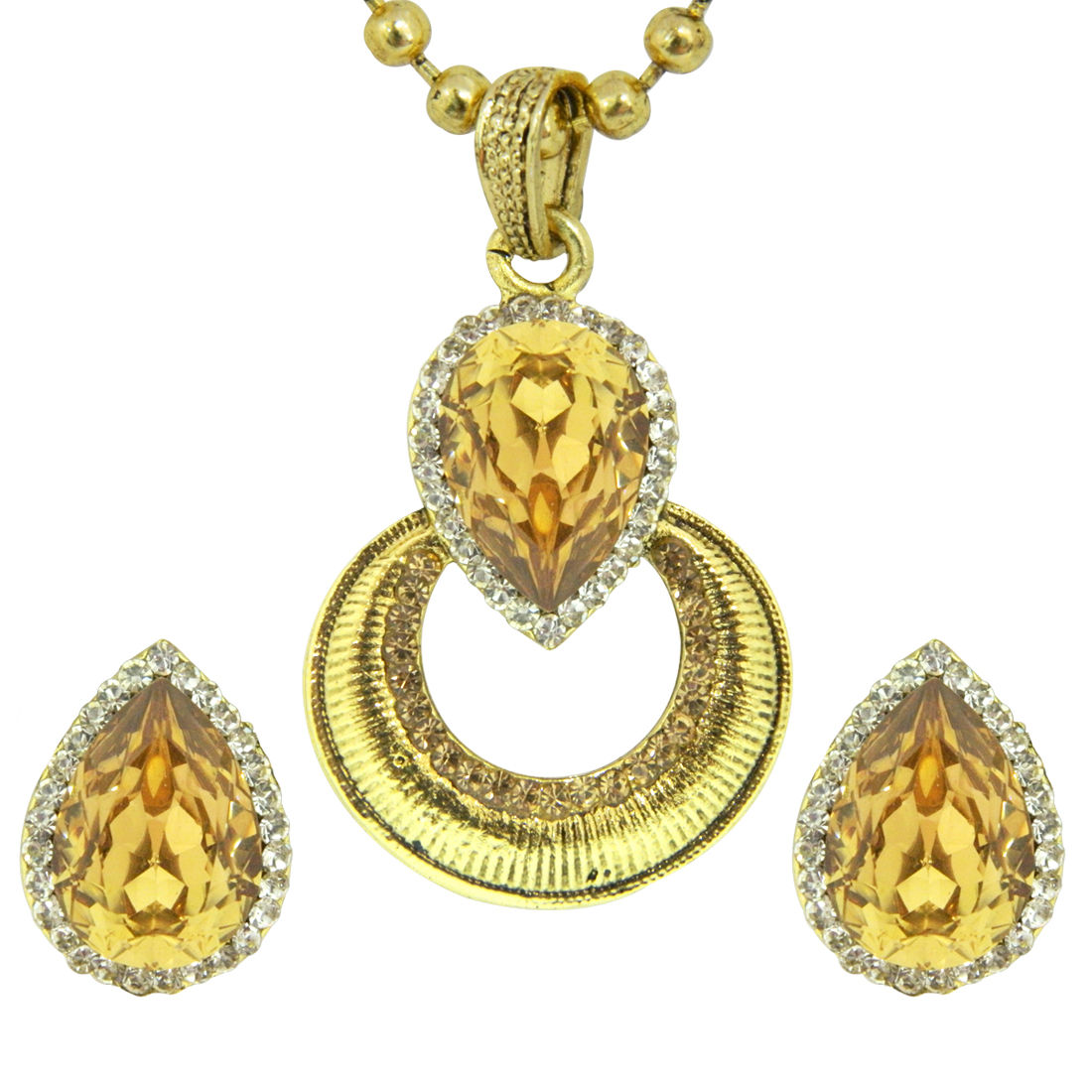 Peora Citrine Pendant Earring Set With Chain