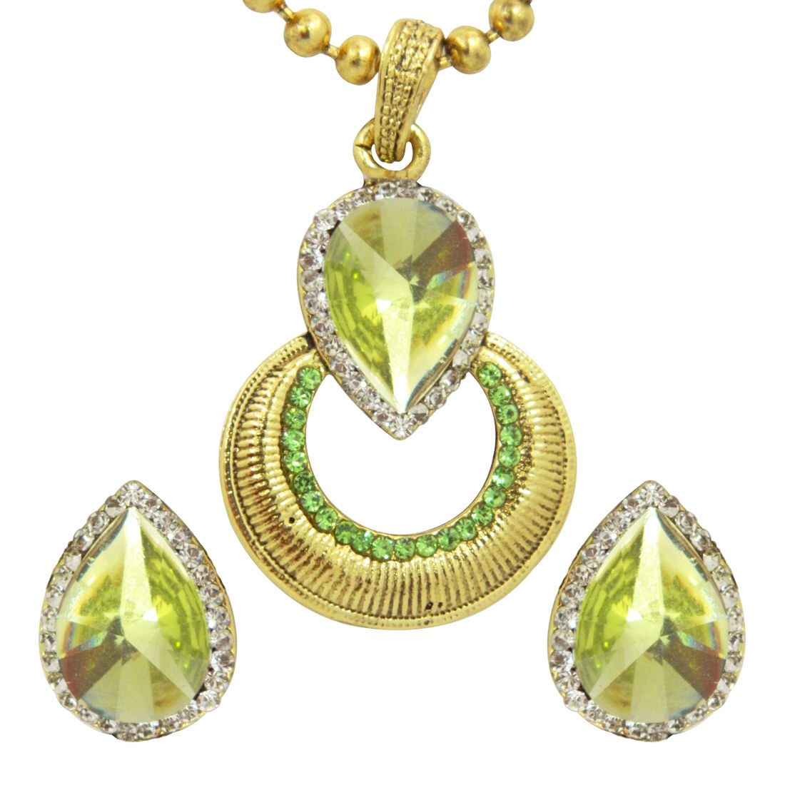 Peora Lime Pendant Earring Set With Chain