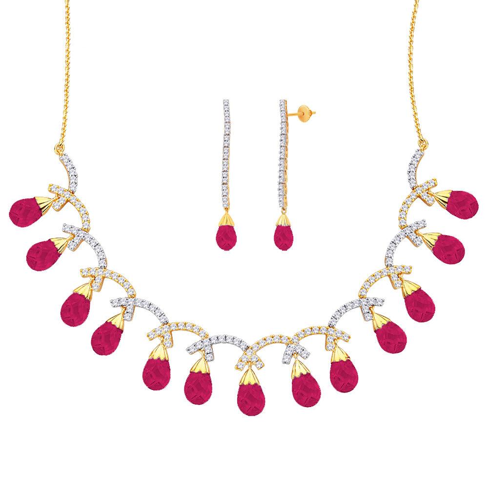 Peora 18 Karat Gold Plated Cubic Zirconia Rebecca Necklace Earrings Set