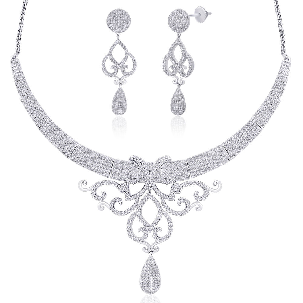 Peora Gloria - Rhodium Plated Necklace Earrings Set