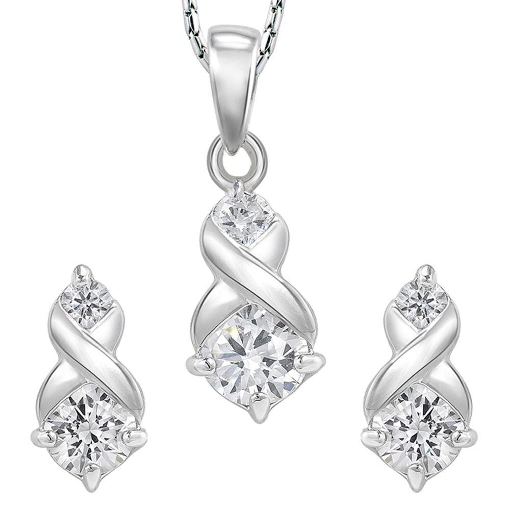 Peora Alana - Rhodium Plated Pendant Earring Set