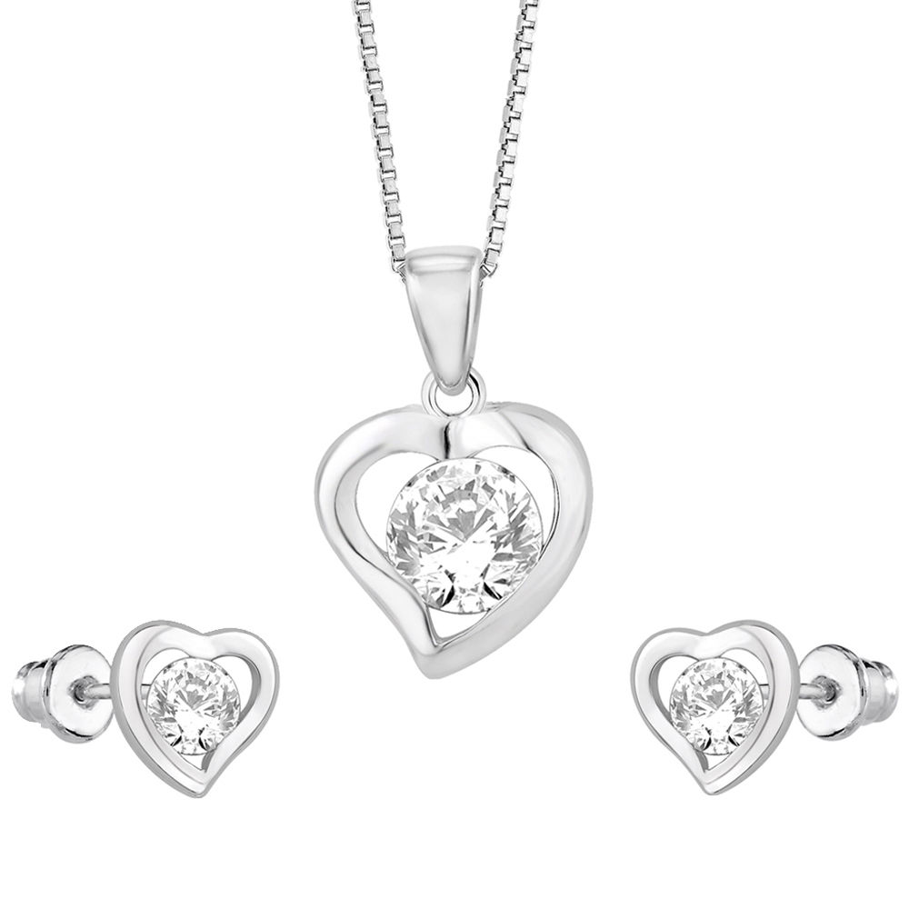 Peora Sterling Silver Rhodium Plated CZ Solitaire Heart Pendant Earring Set Free 18 Chain