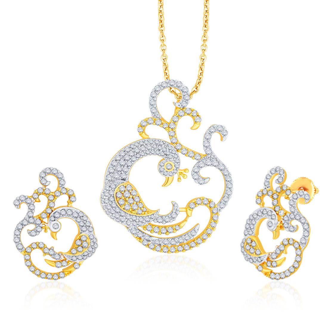 Peora 18 Karat Gold Plating Graceful Peacock Pendant Earring Set