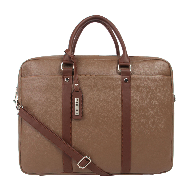 Toteteca Double Zip Laptop Bag - Beige