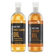 WishCare 100% Pure Cold Pressed Castor Oil & Sweet Almond Oil Combo