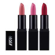 Nykaa So Matte Mini Lipstick - Naught Nude + Racy Rose + Regal Ruby Combo