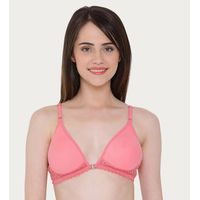 Clovia Cotton Rich Non-Padded Non-Wired Front Open Plunge Bra - Pink