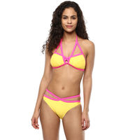 Blush Criss-Cross Halter Neck Bikini - Yellow, Pink