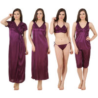 Fasense Women Satin Nightwear 6 PCs Set of Long Wrap, Nighty, Top, Capri, Bra & Thong - Purple