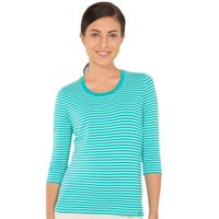 Jockey Paradise Teal & Aqua Splash Yarn Dyed Stripe 3/4 Sleeve T-Shirt