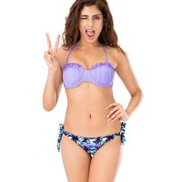 PrettySecrets Lilac Rushed Halter Neck Bikini