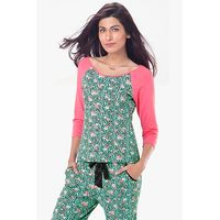 PrettySecrets Cotton Raglan Sleeved Top - Green, Multicoloured/Print, Floral, Animal