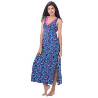 PrettySecrets Cotton Lace-Trim Sleeveless Nightdress - Blue, Multi Colour / Print, Floral