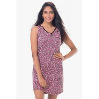 PrettySecrets Cotton Sleeveless Sleepshirt - Pink, Multi Colour / Print
