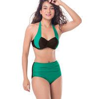 PrettySecrets Wrap Halter Bikini - Black, Green