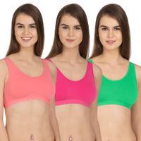 Tweens Coral, Dark Pink, Green Wirefree Sports Bra - Pack Of 3