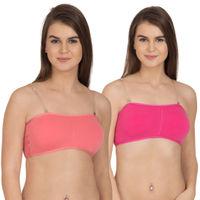 Tweens Coral, Dark Pink Tube Bra with Transparent Straps - Pack Of 2