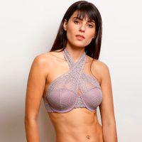 Zivame Moroccan Lace Halter Neck Wired Bralette - Purple