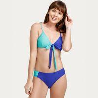 Zivame Knot Front Bikini Set- Blue