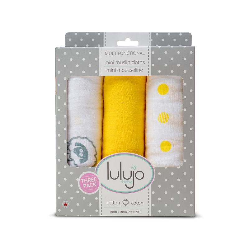 Lulujo Baby Organic Cotton Mini Muslin Cloth Pack Of 3 - Sunshine Yellow