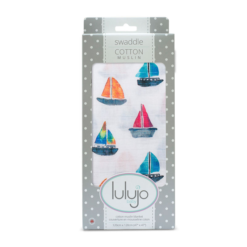Lulujo Baby Cotton Muslin Swaddling Blanket Pack Of 2 - Sailboat