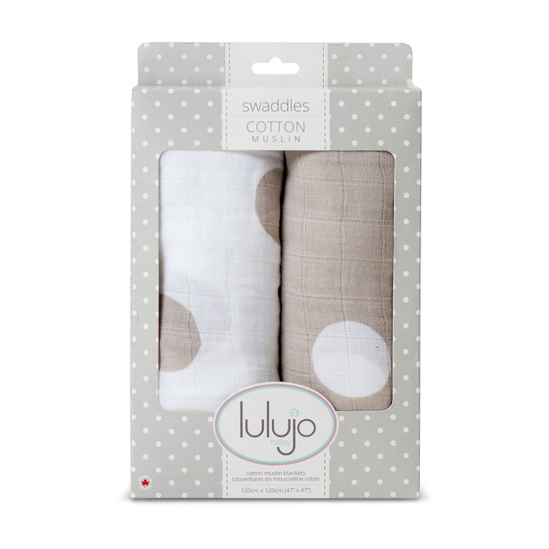 Lulujo Baby All-In-One Organic Cotton Swaddle/ Blanket/ Muslin Cloth - Polka Dots