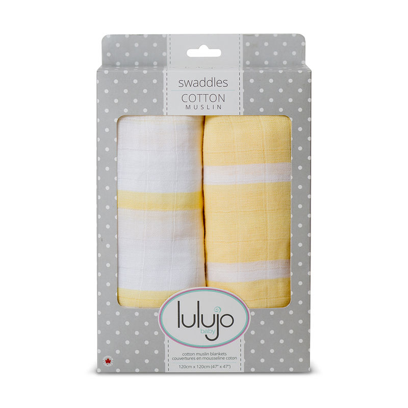 Lulujo Baby All-In-One Organic Cotton Swaddle./ Blanket/ Muslin Cloth - Yellow Stripes