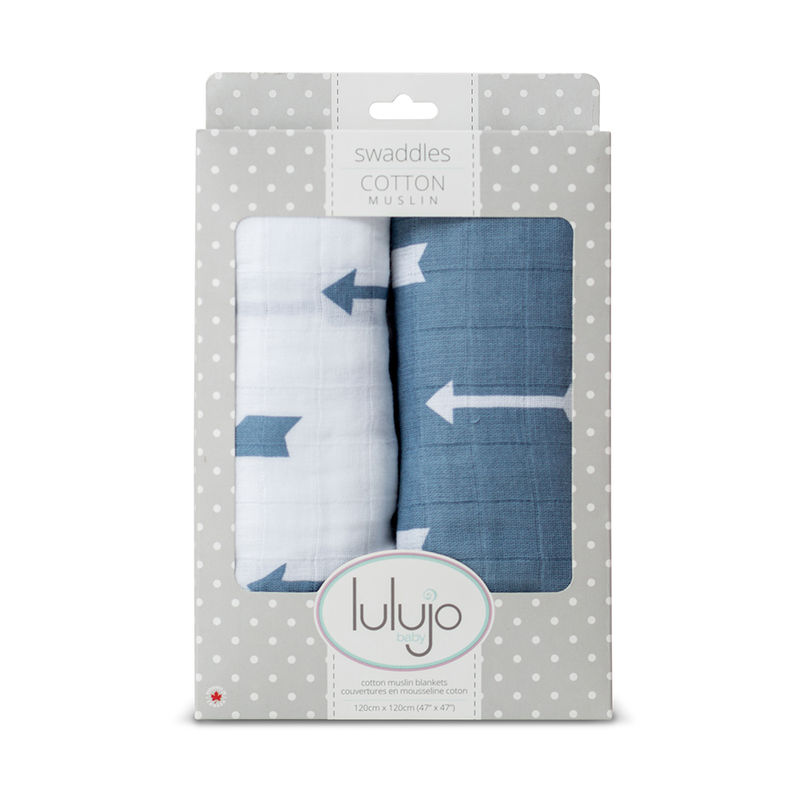 Lulujo Baby All-In-One Organic Cotton Swaddle / Blanket / Muslin Cloth - Blue Arrow