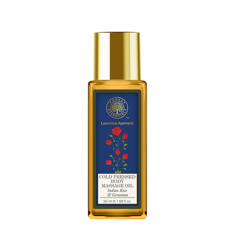 Forest Essentials Cold Pressed Body Massage Oil - Indian Rose & Geranium (Travel Mini)