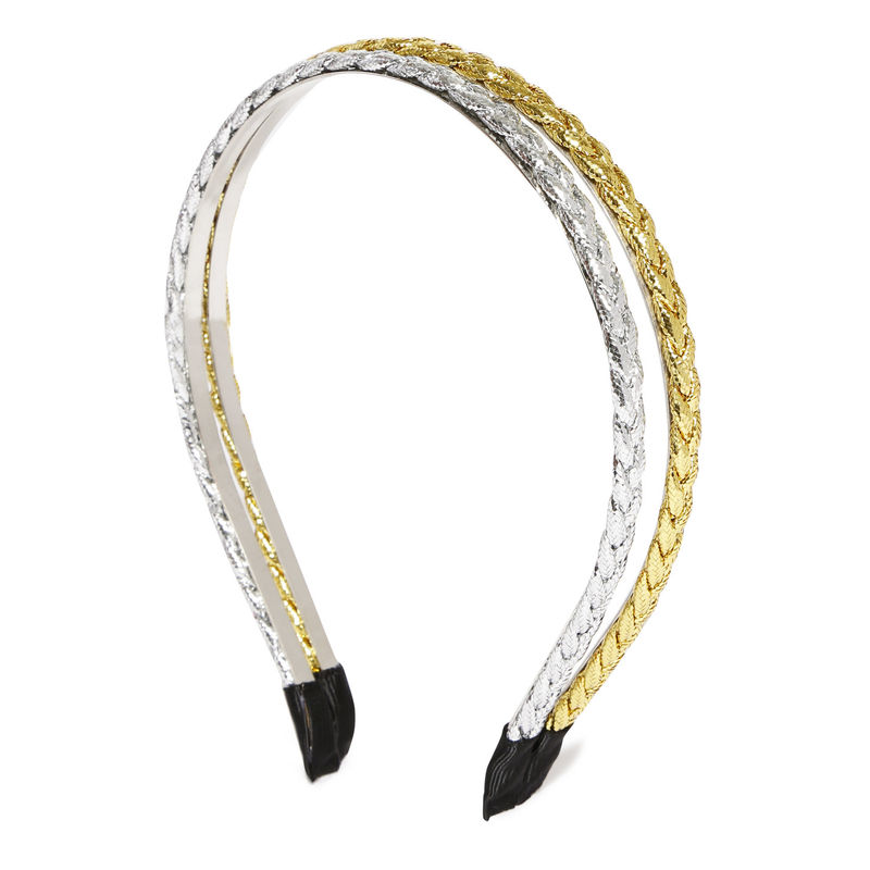 Toniq Set Of 2 Gold Braided Hair Band